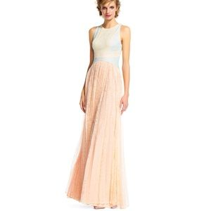 Sleeveless Colorblock Chantilly Lace pleated Gown